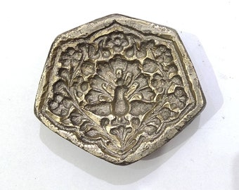 Vintage Brass Jewelry Die Mold Cube Hand Engraved Collectible Rare Die