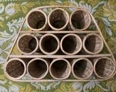 Vintage Bamboo and Rattan Wine Rack Bottle Storage Retro Boho Wicker Storage Basket