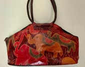 Vintage Leather Purse Elephants Embossed Leather Hand Painted Made In India Super Soft Elephant Handbag