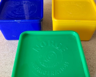 Vintage Norge Refrigeration Rollator Plastic Storage Containers Bright Primary Colors Promotional 40's Canister Set