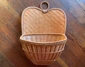 Vintage Wicker Wall Basket Planter Mail Holder Woven Straw Wall Pocket Rattan Basket Peacock Back