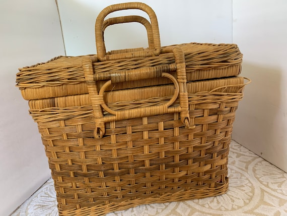 Set of two Vintage 70s basket straw miniature suitcases train case lunch box picnic