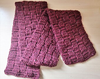 Chunky Crochet Scarf - Red/Brown