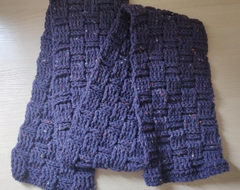 Chunky Crochet Scarf - Purple/Blue