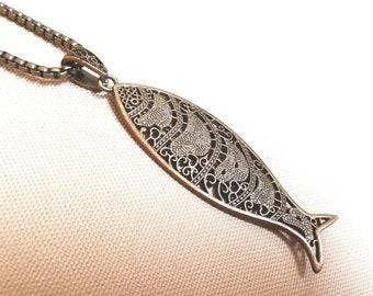 Portuguese SARDINE FILIGREE BRONZE long Necklace statement traditional fish gift Wife love bronze anniversary festival boho antique