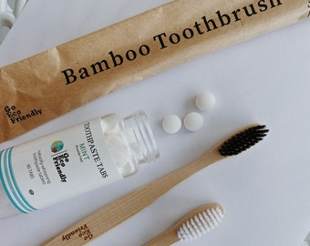 Bamboo toothbrush, zero waste toothpaste tablets