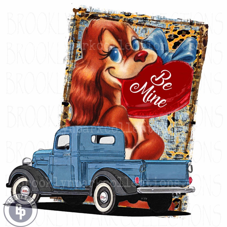 Ready To Press Sweetheart Be Mine Vintage Truck SUBLIMATION TRANSFER Heart