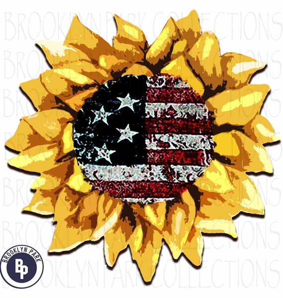 READY TO PRESS sublimation transfer Flag and Sunflower