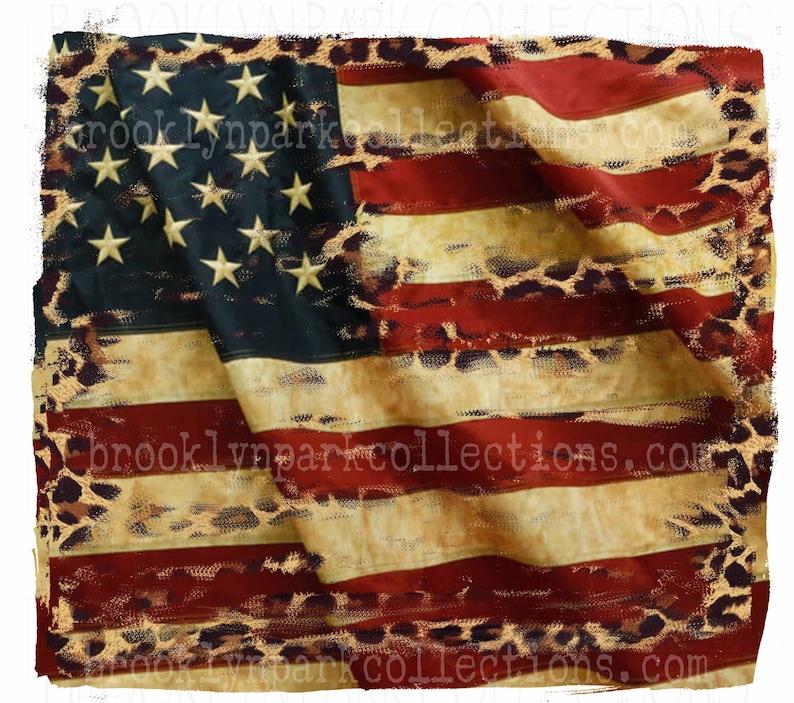 Vintage American Flag Leopard Print Distressed SUBLIMATION image 0