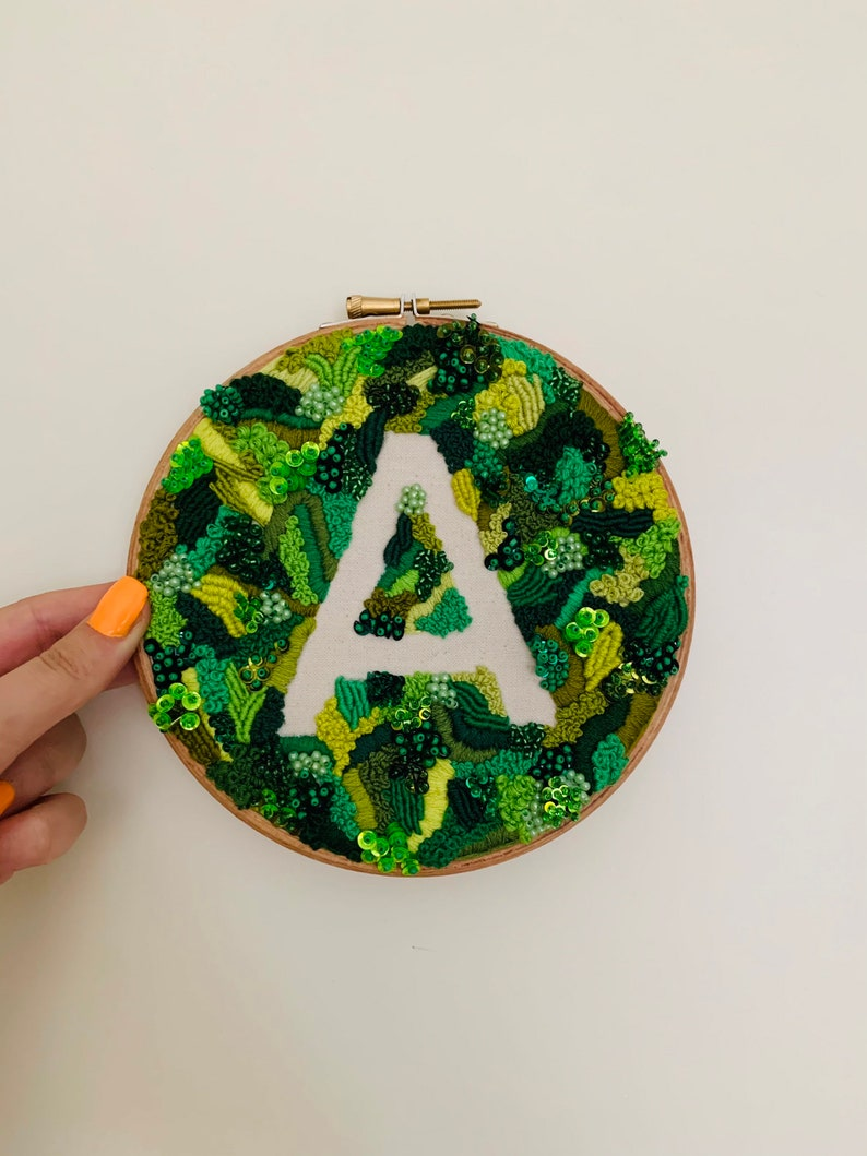 6.5\u201d  PERSONALISED INITIAL LETTER A  Embroidered Wall Hanging  Hoop Wall Hanging  Abstract Embroidery  Earthy  Personalised Art