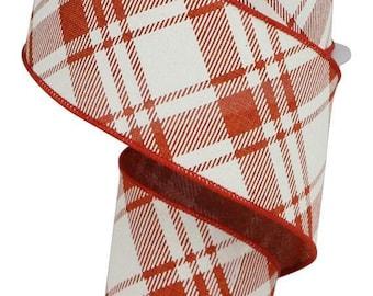 Wired Ribbon Rustic Red Ivory  1.5 X 10 yd  Diagonal Stripe  Check On Royal  RGA128574