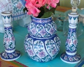 Chinoiserie vintage pink blue white ceramic handpainted 3piece set home accent pair of candlesticks and squash vase
