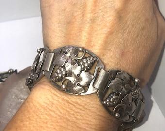 Antique Art nouveau Denmark sterling silver link bracelet A Prip Designer Grape leaves Scandinavian Very old Super rare!!