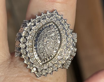 Amazing Diamond Cocktail Ring By NH Michael Valitutti - Big Statement Sterling Silver Ring Size 7