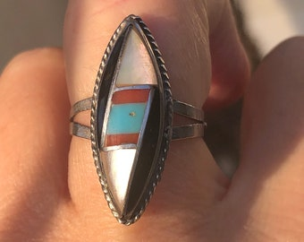 and Blue Fire Opal Ring Black Onyx Mother of Pearl Red Coral Southwest Mens Inlay Sterling Silver Ring w Turquoise