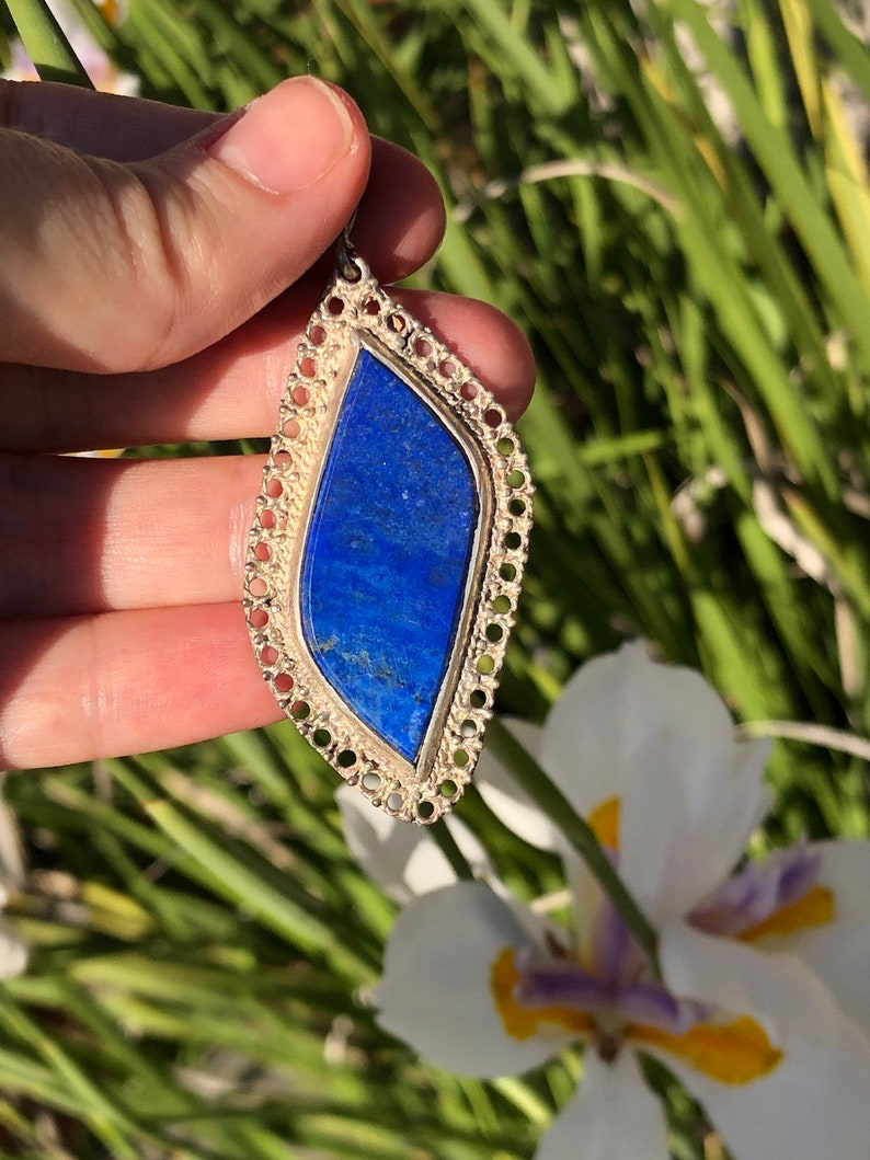 Big blue lapis lazuli gemstone pendant 4 necklace sterling silver 925