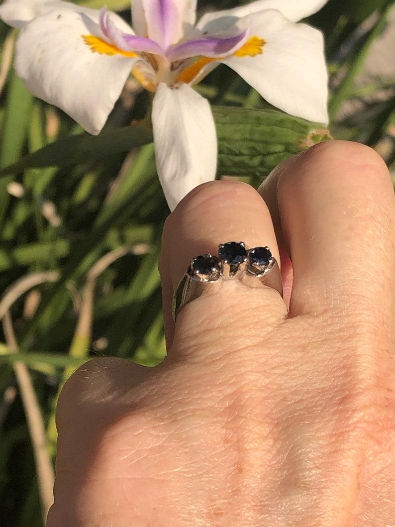 Vintage Blue Sapphire Eternity Gemstone Ring Sterling Silver 925 Size 6.5