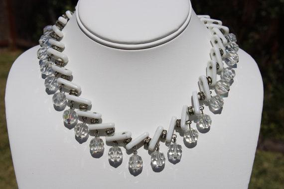 14 Long Retro Three Strand Elegant Clear Crystal Rhinestone Silver Tone Choker Necklace Wedding Oval Prom Pageant Jewelry Bridal