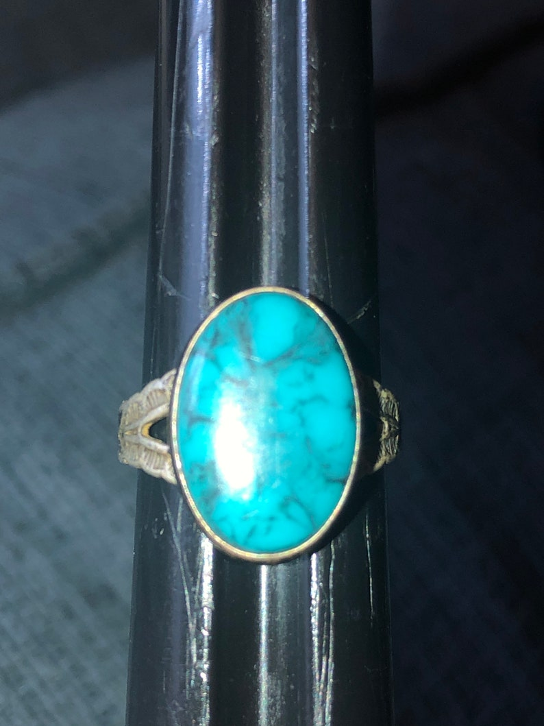 Beautiful vintage turquoise Native American Indian sterling silver ring Size 5.75-6 JP