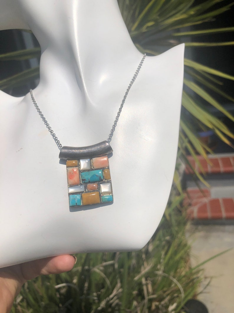 Vintage inlaid tiled Gemstone pendantnecklace and chain spiny oyster shell mother of pearl and turquoise Solid sterling silver 925 18in