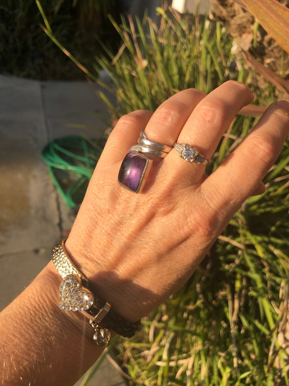 Vintage amethyst sterling silver copper ring abstract modernist pyramid gemstone unusual size 8