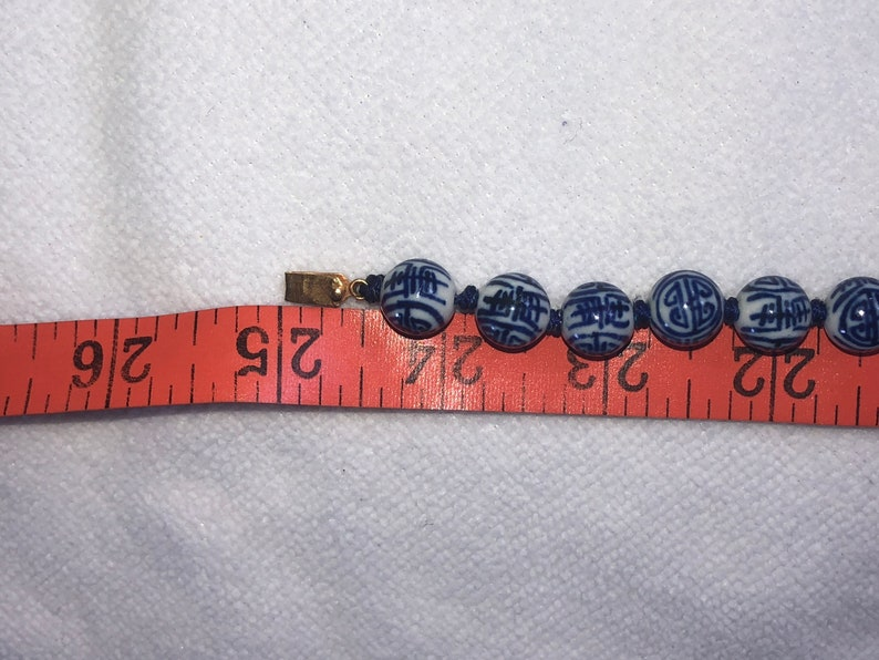 Antique vintage Chinese export cobalt blue and white ceramicporcelain Beaded necklace yellow gold tone clasp 24.5 inches