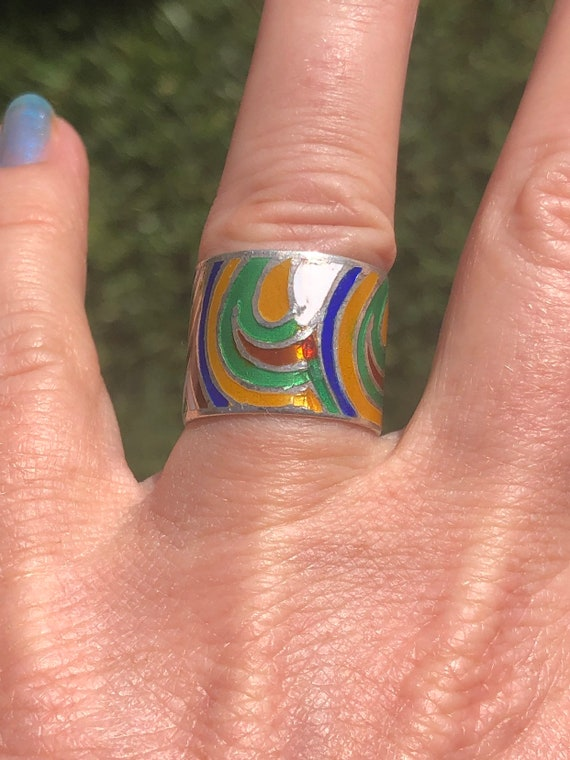 Vintage enamel rainbow thick band ring Mexico size