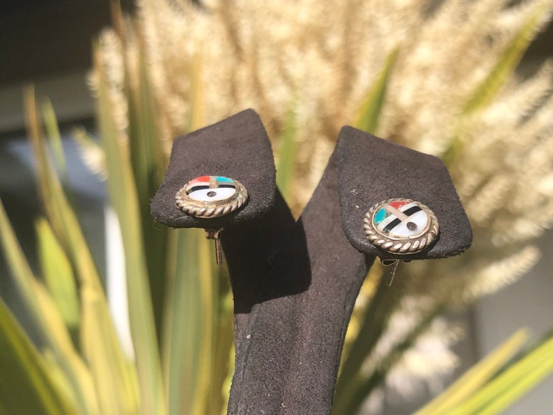 Vintage Zuni earrings inlaid MOP red coral turquoise Black onyx Native American Indian Southwestern Sterling silver 925 studs