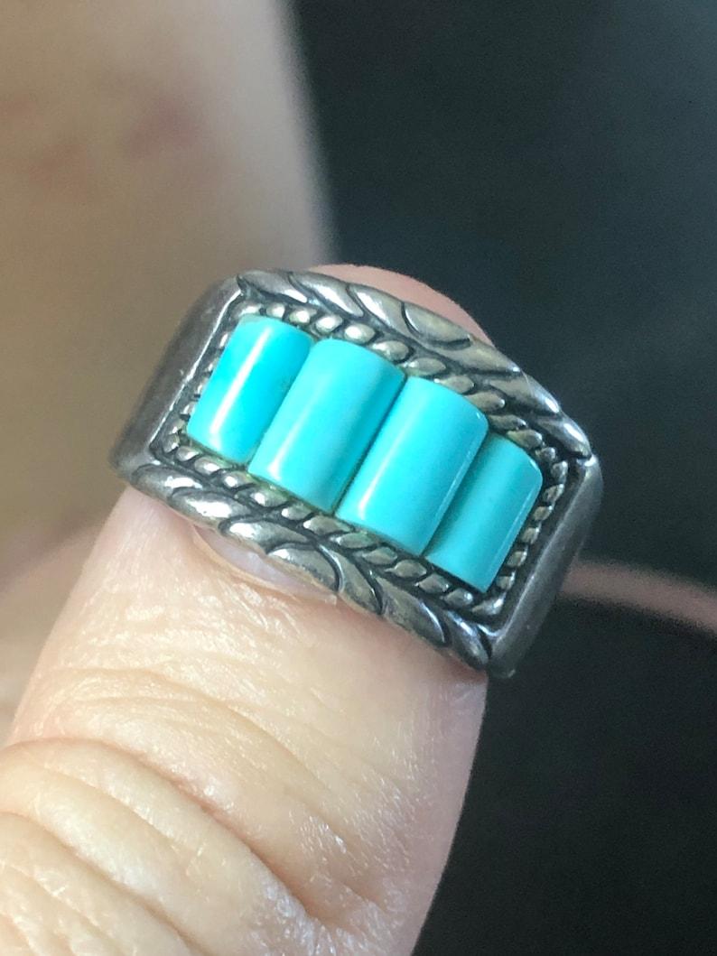 Vintage Southwestern Designer Carolyn Pollack Turquoise Ring Sterling Silver Ring Size 6