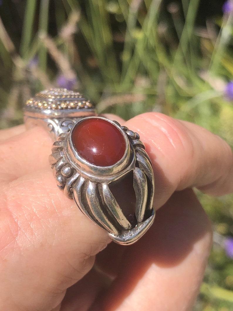 Big tall Beautiful sterling silver carnelian gemstone ring Size 8.25 925 unusual