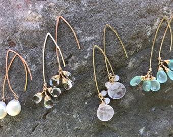 Gold Filled Long Drop Modern Earring with Gemstone Teardrop, Rose Quartz, Pearl, Quartz or Calcedony