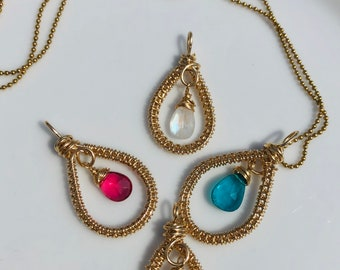 Gold Filled Handwoven Teardrop Pendant with Gemstone Drop