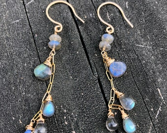 Labradorite Dangle Earrings Wrapped in Gold Fill Wire