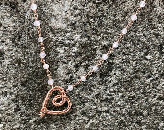 Rose Quartz Necklace with Heart Pendant Wrapped in Rose Gold Filled Wire