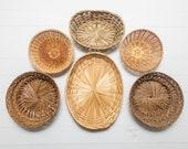 Vintage Set of Ratan Baskets, Wicker Basket Wall Hangings, Set of 6 Baskets, Round Oval, Boho Decor, Natural Wall Art, Vintage Baskets