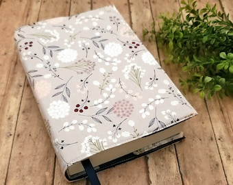 ADJUSTABLE Book Cover, Book Sleeve, Book pouch, Padded Book Cover, Book Lover, Bookish, Fabric Book Cover, Bookworn -Berry Leaves-
