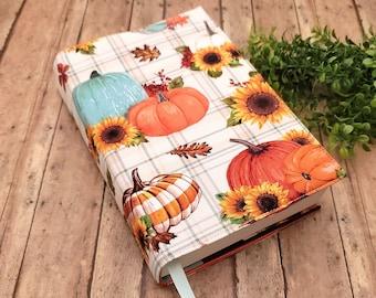 ADJUSTABLE Book Cover, Book Sleeve, Book pouch, Padded Book Cover, Book Lover, Bookworm, Fabric Book Cover -Mint & Orange Pumpkins-