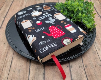 ADJUSTABLE Book Cover, Book Sleeve, Book pouch, Padded Book Cover, Book Lover, Bookish, Fabric Book Cover, Bookworn -Coffee Break-