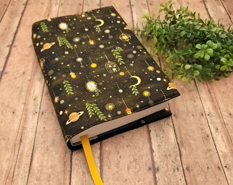ADJUSTABLE Book Cover, Book Sleeve, Book pouch, Padded Book Cover, Book Lover, Bookish, Fabric Book Cover, Bookworn -Forest Sky Charcoal-