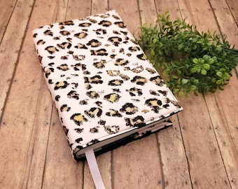 ADJUSTABLE Book Cover, Book Sleeve, Book pouch, Padded Book Cover, Fabric Book Cover, Bible Cover, Planner Cover -Gold Leopard on Pink-