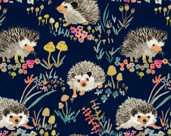 ADJUSTABLE Book Cover, Book Sleeve, Book pouch, Padded Book Cover, Bookish, Fabric Book Cover, Bible Cover, Bookmark-Happy Hedgehogs Navy-