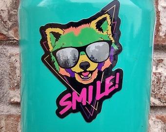 Smile Red Panda, Retro, Red Panda, Red Panda Art, Ailurus fulgens, Vinyl, Laptop, MacBook, Car, Water Bottle, Waterproof Glossy Sticker