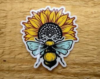 Sunflower Honey Bee, Honey Bee Art, Sunflower Art, Vinyl, Laptop, MacBook, Car, Water Bottle, Waterproof Glossy Sticker