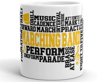 Black & Gold, Marching Band, High School , Middle School College, Band, Color Guard, Music, Musician, Word Art Mug