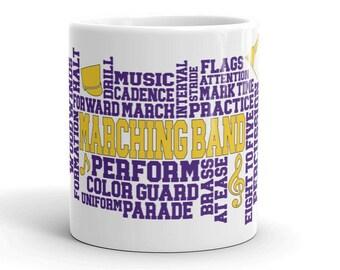 Purple and Gold Marching Band Mug, Purple, Gold, School Band Gift, School Band Mug, School Pride Gift, School Pride
