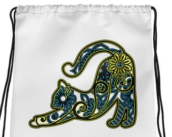Mandala Stretching Kitty Cat Drawstring bag