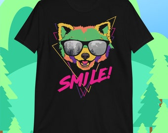 Smile Red Panda, Colorful, Retro, Panda Art, Red Panda, Red Panda Art, Ailurus fulgens, 80s, Sunglasses, Red Panda Gift, T-Shirt
