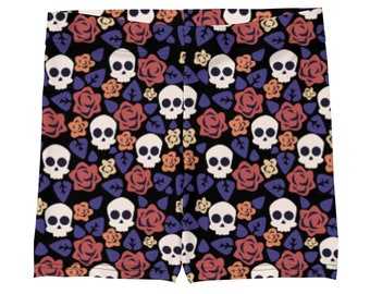 Flowers And Skulls Workout, Vollayball, Yoga Shorts