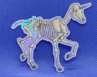 Creepy Holographic Skeleton Unicorn Sticker, Vinyl, Laptop, MacBook, Car, Water Bottle, Waterproof Sticker