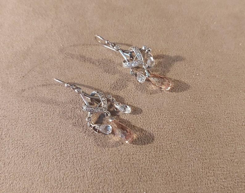 VintageVictorian Bridal Austrian Crystal Drop Two WayTwo-in-One Earrings CZ Versatile. Delicate Sterling Silver SilverCrystalPeach